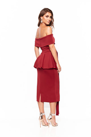 A&N Camila Cocktail Off-Shoulder Midi Dress - Burgundy