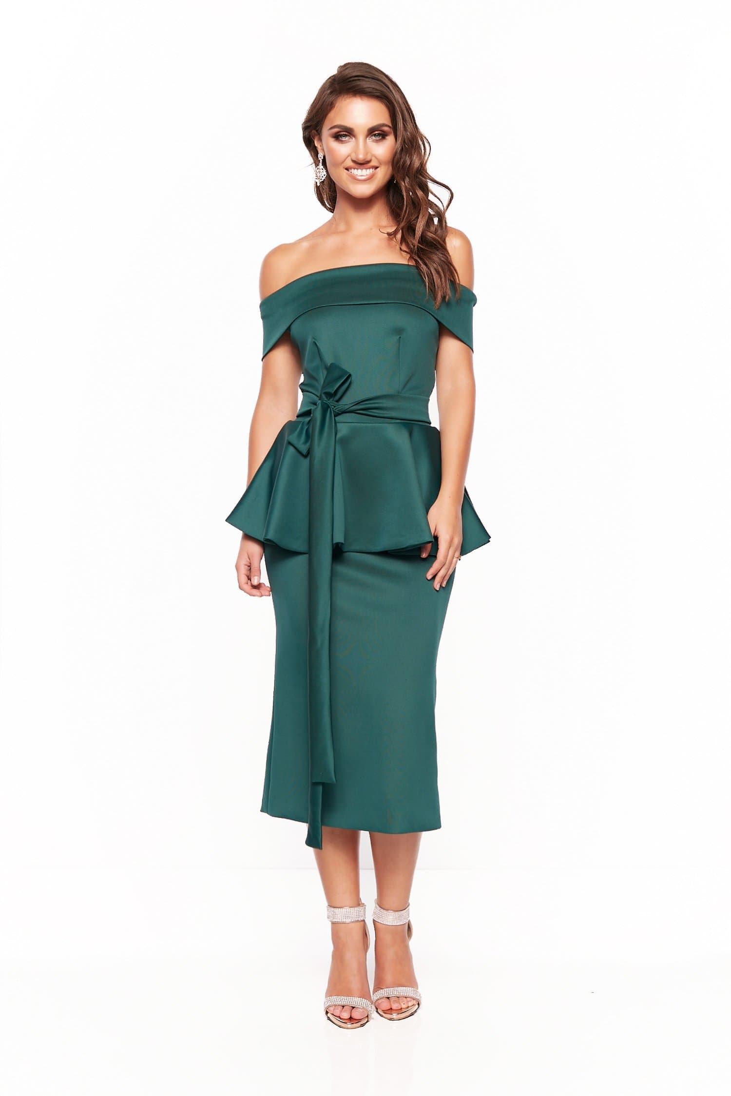 A&N Camila Cocktail Off-Shoulder Midi Dress - Emerald