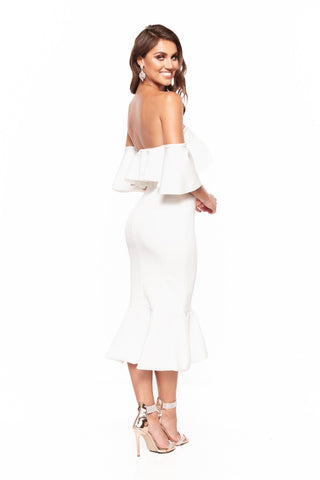 A&N Selena Off-Shoulder Elegant Cocktail Dress - White
