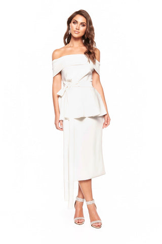 A&N Camila Cocktail Off-Shoulder Midi Dress - White