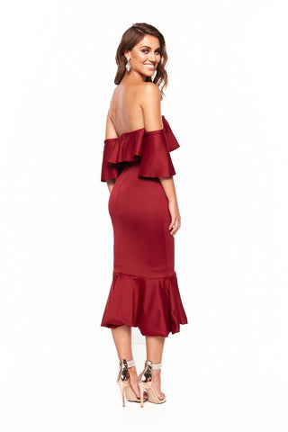 A&N Selena Off Shoulder Elegant Cocktail Dress - Burgundy