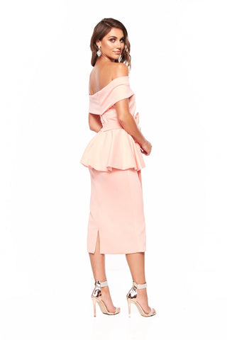 A&N Camila Cocktail Off-Shoulder Midi Dress - Peach