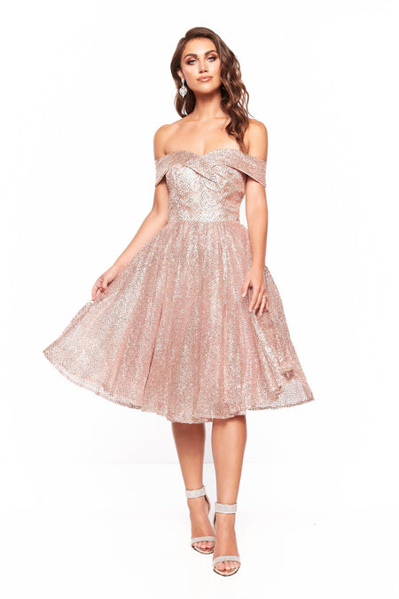 A&N Nyla Glitter Cocktail Dress - Gold