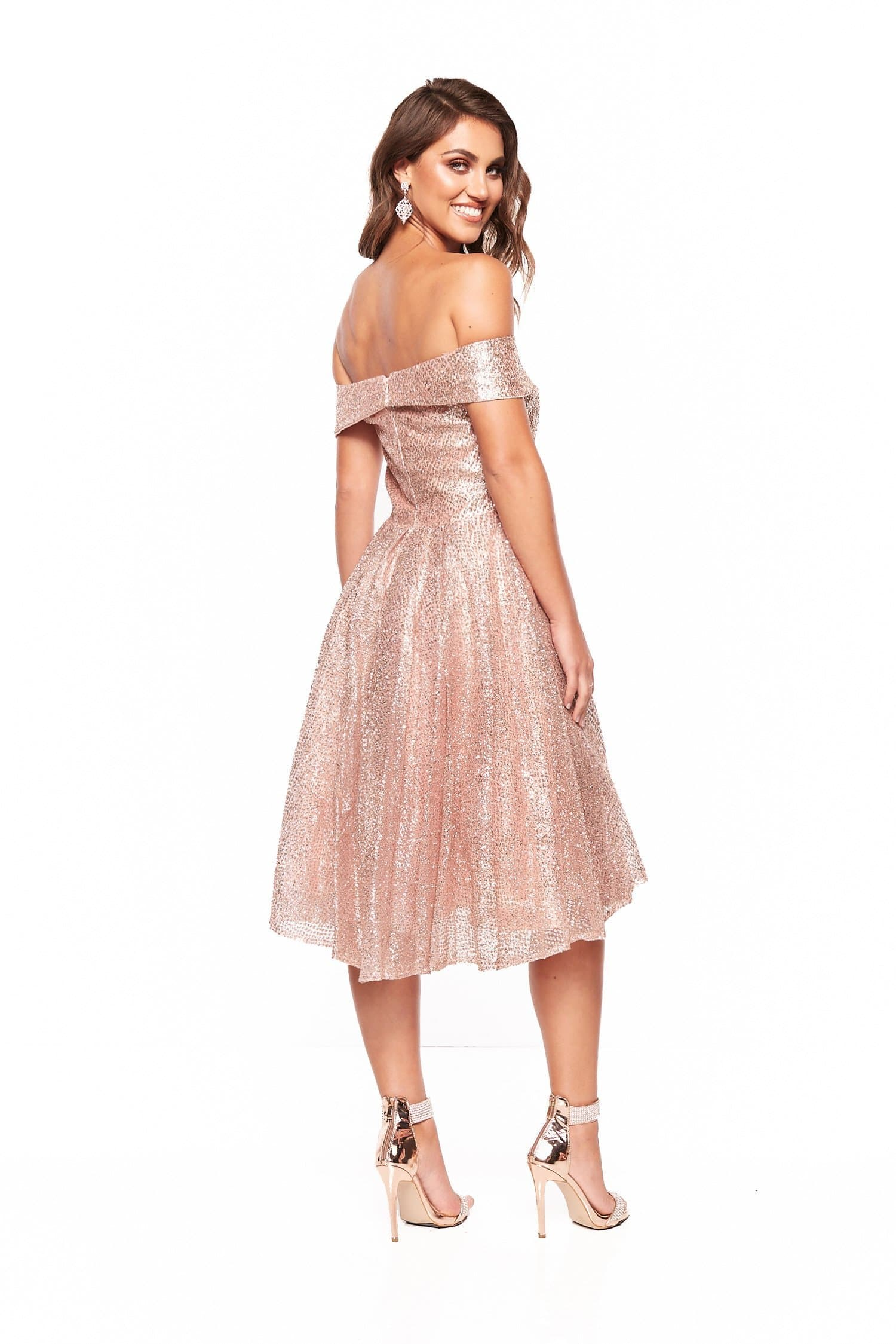 A&N Nyla Glitter Cocktail Off Shoulder Midi Dress - Rose Gold