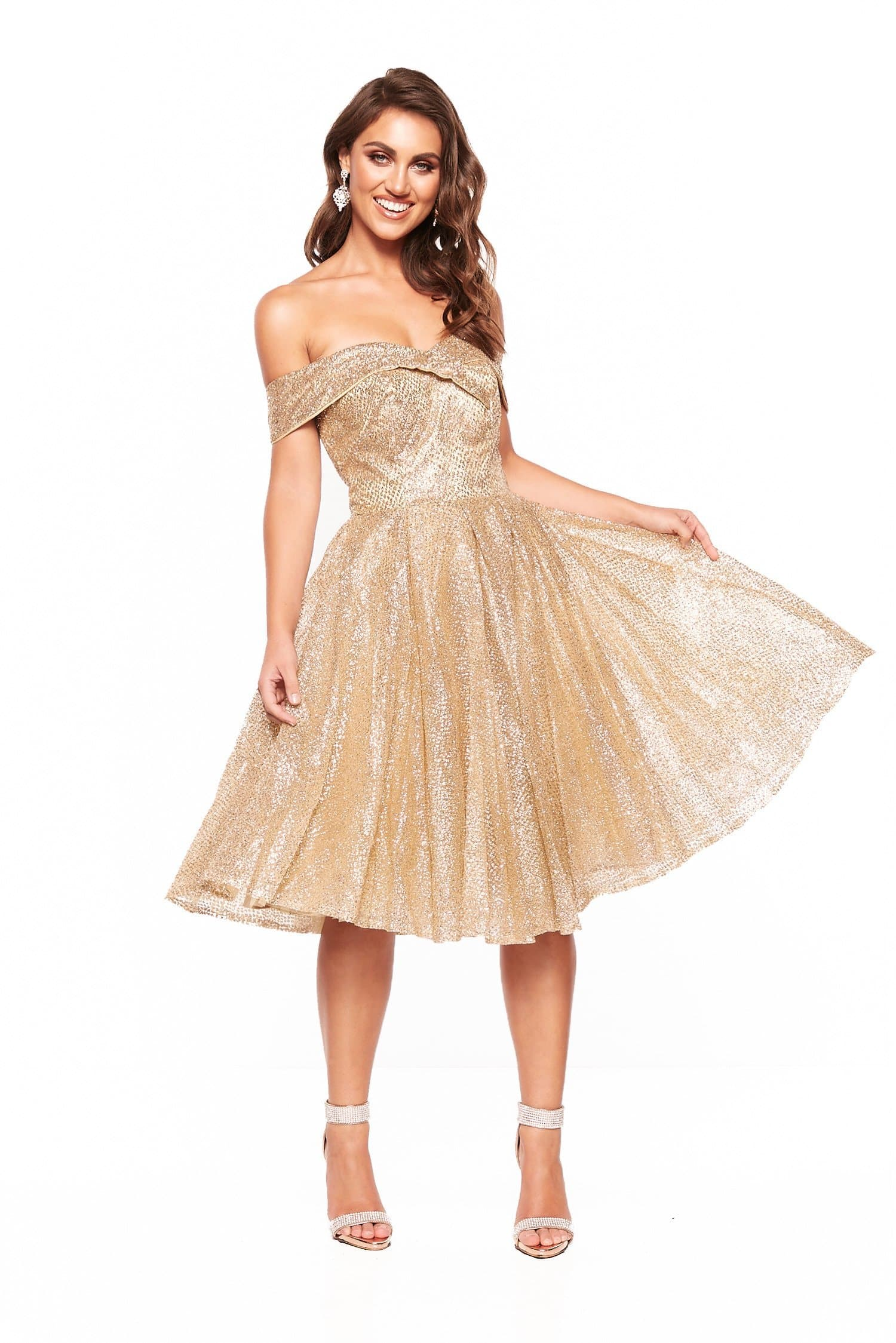 A&N Nyla Glitter Cocktail Off Shoulder Midi Dress - Gold