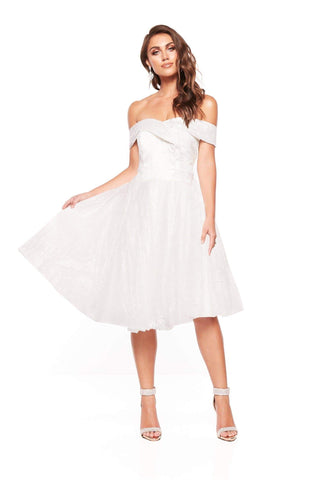 A&N Nyla Glitter Cocktail Off Shoulder Midi Dress - White