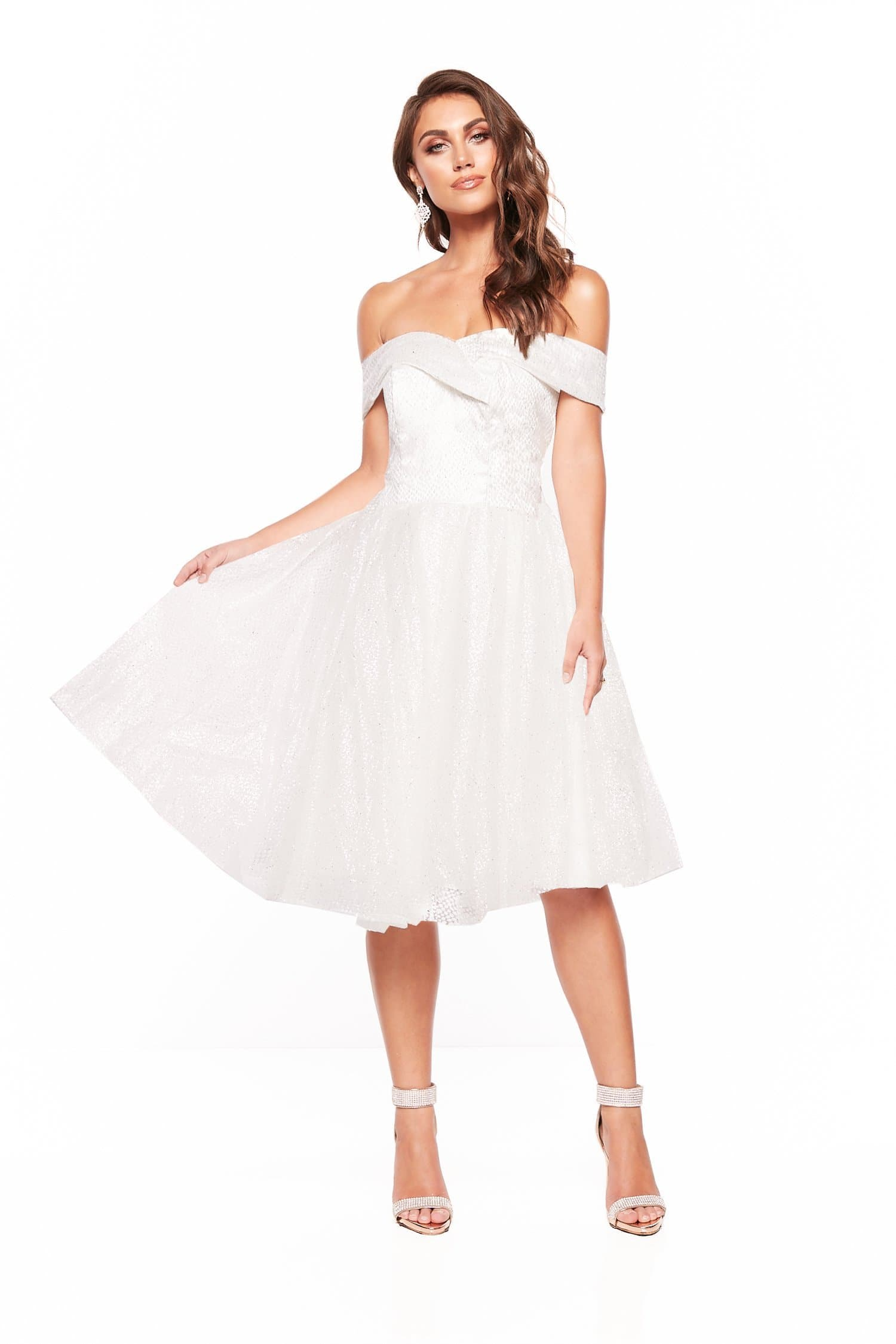 fc82286904f9 A N Nyla Glitter Cocktail Off Shoulder Midi Dress - White – A N Luxe ...
