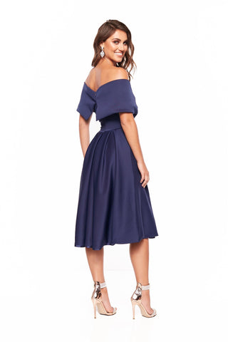 A&N Elyse Flowing Off-Shoulder Cocktail Dress - Navy