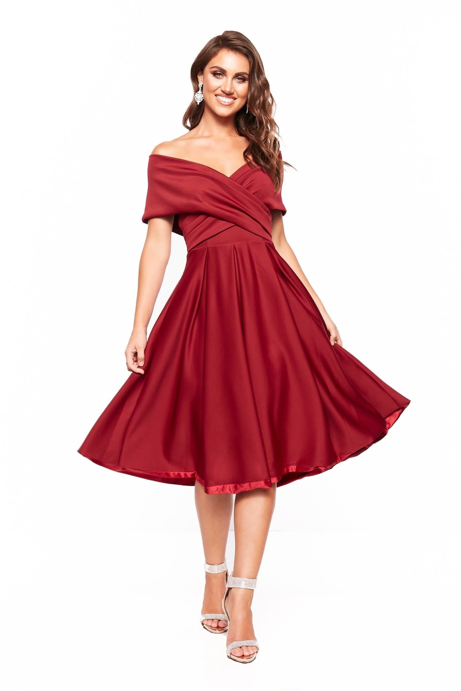 A&N Elyse Flowing Off-Shoulder Cocktail Dress - Burgundy