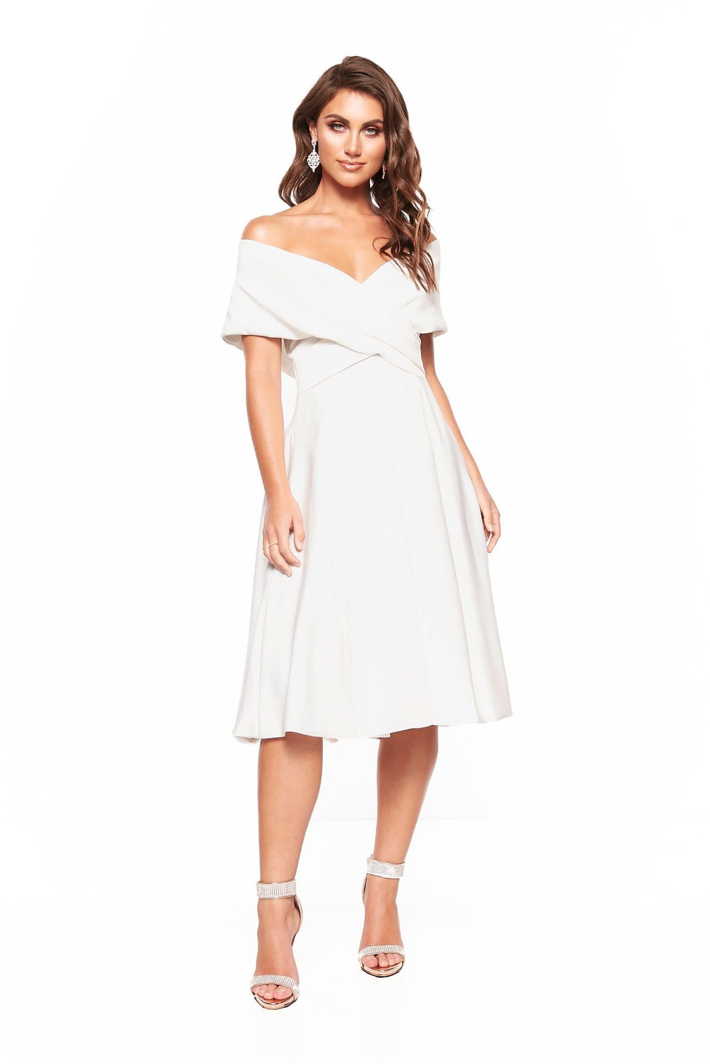 A&N Elyse Flowing Off-Shoulder Cocktail Dress - White
