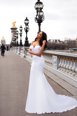 Madelina - White Off-Shoulder Satin Gown with Long Mermaid Train