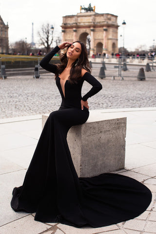 Alexiya - Black Crepe Gown with Long Sleeves and Straight Neckline