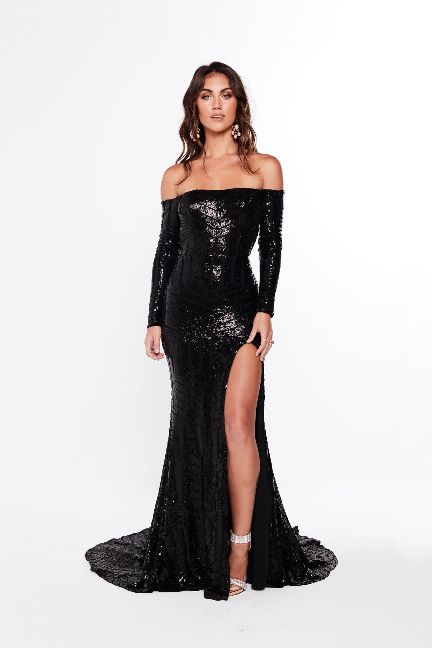 A&N Regina - Black Sequin Gown with Off-Shoulder Long Sleeves
