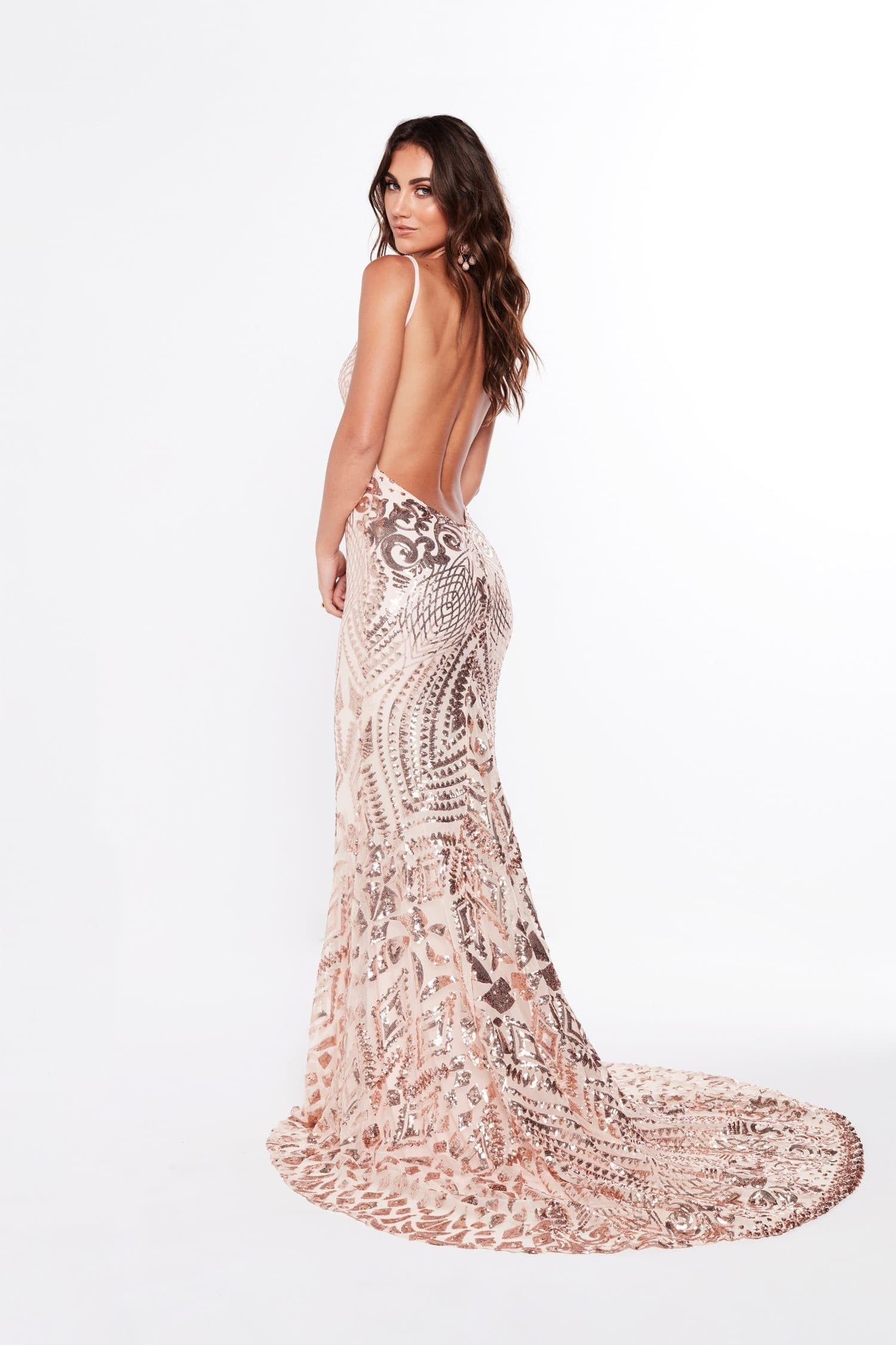 A&N Mariana - Rose Gold Sequin Gown with Low Back – A&N Boutique