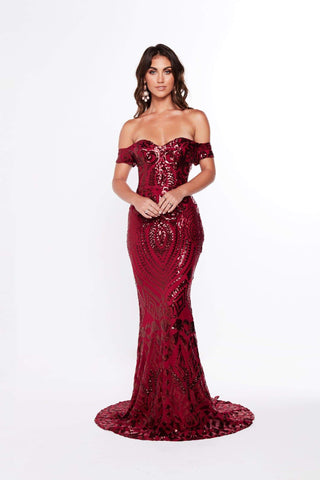 A&N Mia - Burgundy Sequin Gown with Off-Shoulder Straps