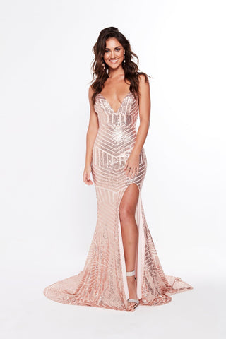 A&N Olivia - Rose Gold Sequin Gown with V Neck and Side Slit
