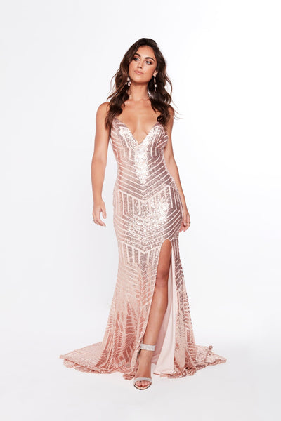 A&N Luxe Olivia Sequins Gown - Rose Gold