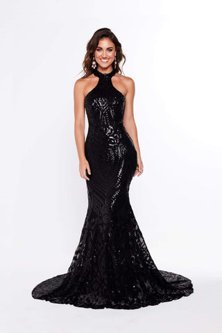 A&N Fabiana - Black Halter Neck Sequins Gown with Mermaid Train