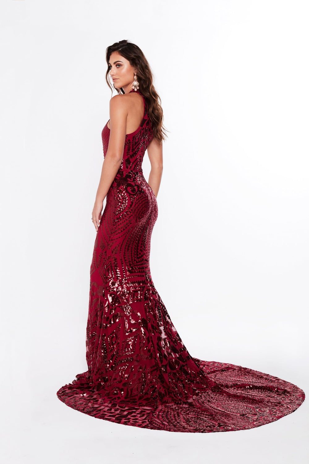 A&N Fabiana- Sequin Burgundy Gown with High Neckline and Mermaid Train