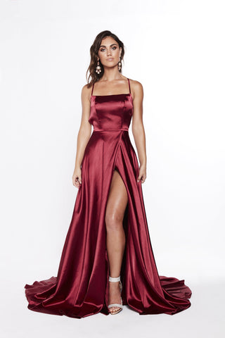 A&N Bianca - Burgundy Satin Gown with Front Slit and Lace up Back
