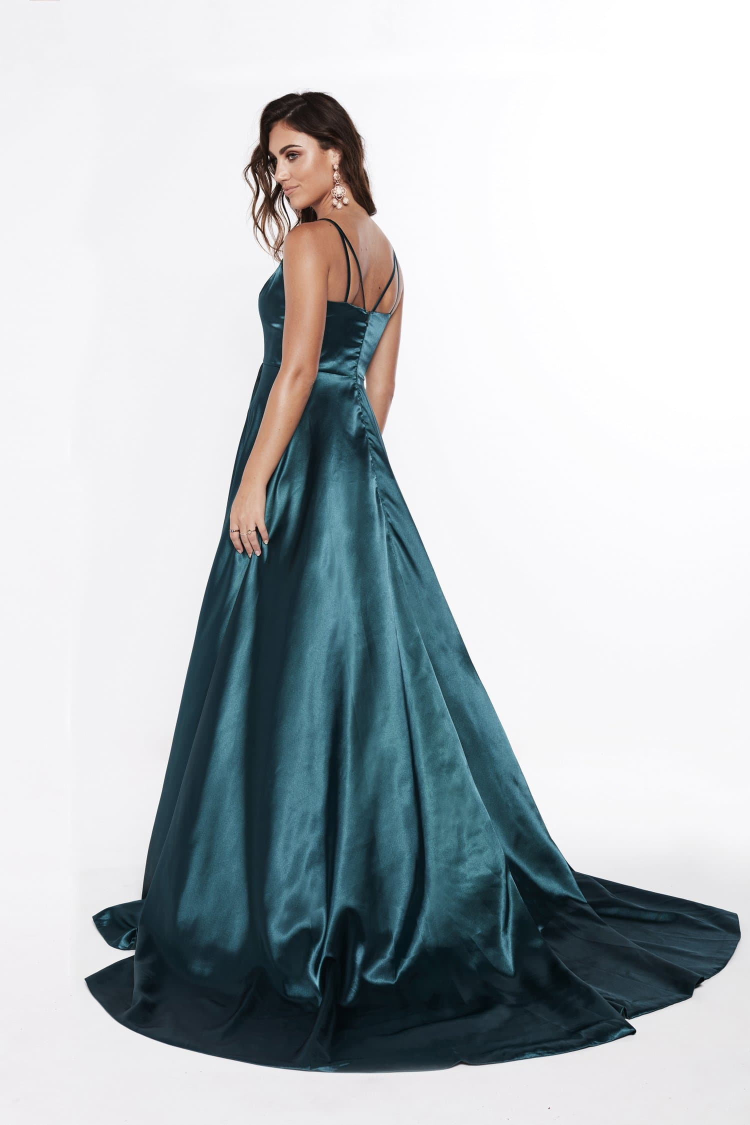 A&N Luxe Lucia Satin Gown - Teal