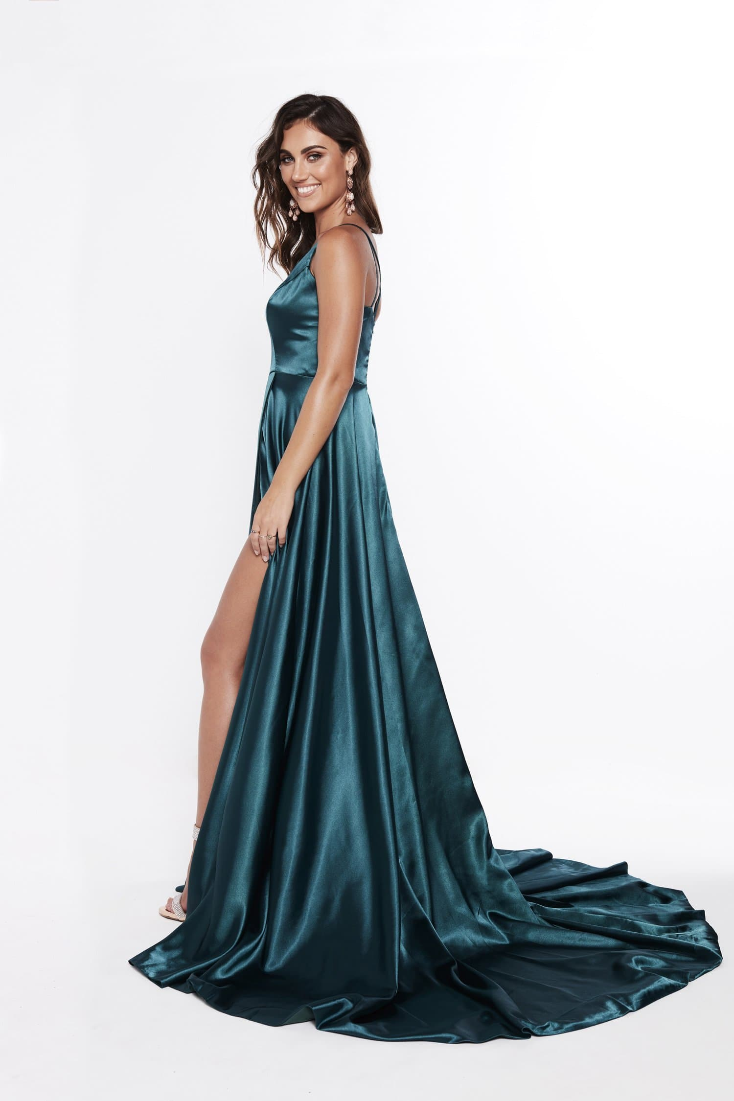 A&N Lucia - Teal Satin Gown with A Line Skirt and Detailed Back
