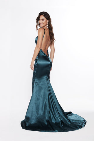 A&N Vivian - Teal Satin Gown with V Neck and Low Back