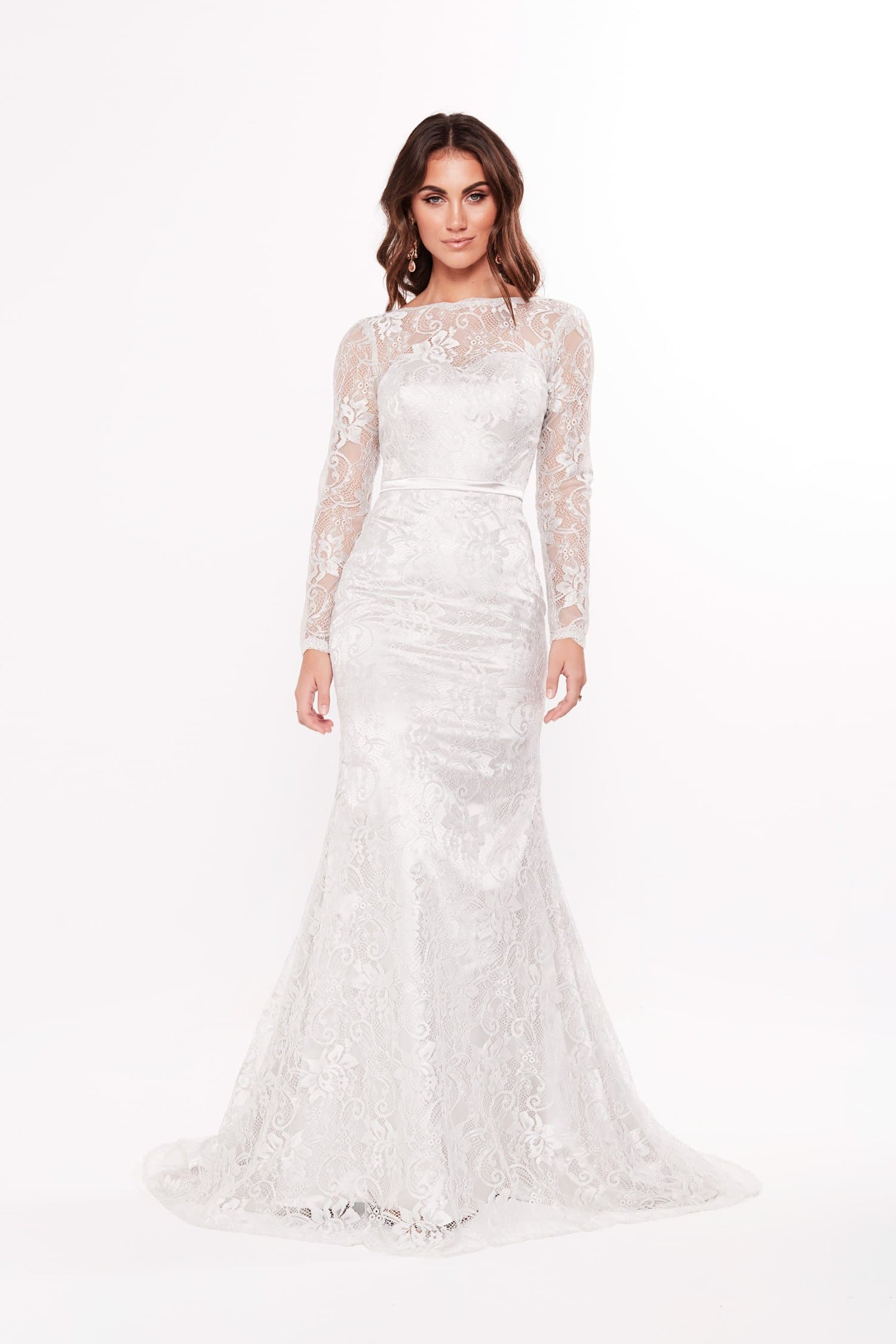 A&N Yamel - Silver Lace Gown with Long Sleeves and High Neckline