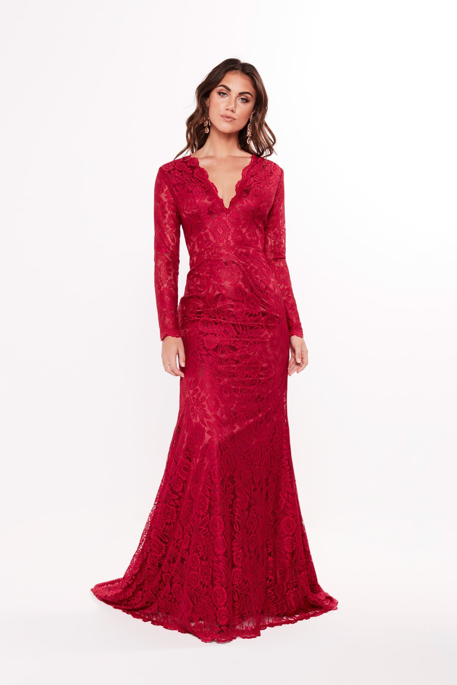 A&N Maggie - Red Long Sleeve Lace Gown with V Neckline