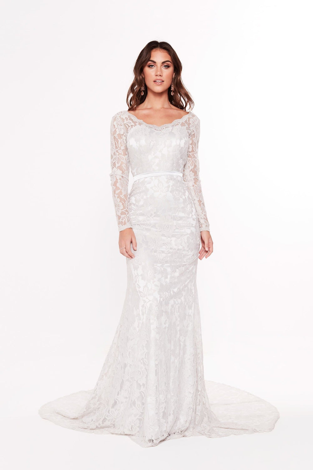 A&N Fatima - Silver Lace Gown with Long Sleeves and Mermaid Train