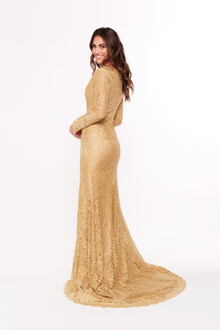 A&N Maggie - Gold Lace Gown with Long Sleeves