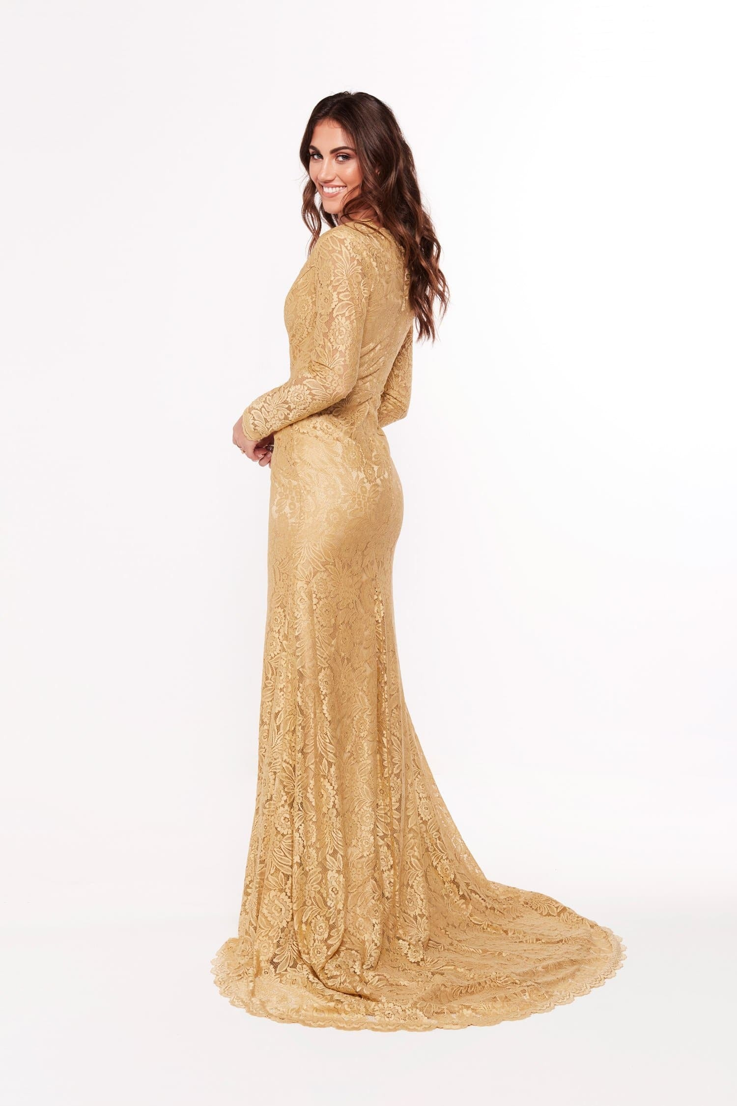 A&N Maggie - Gold Lace Gown with Long Sleeves – A&N Luxe Label