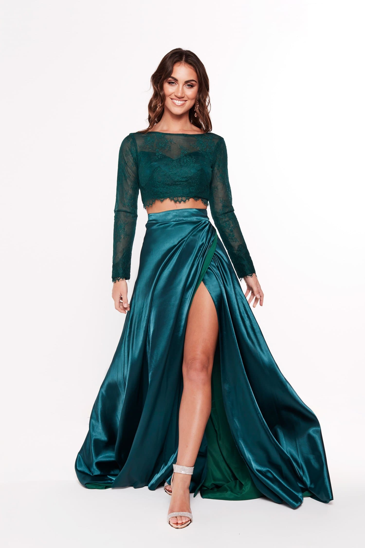 Teal lace top and a line skirt prom dress