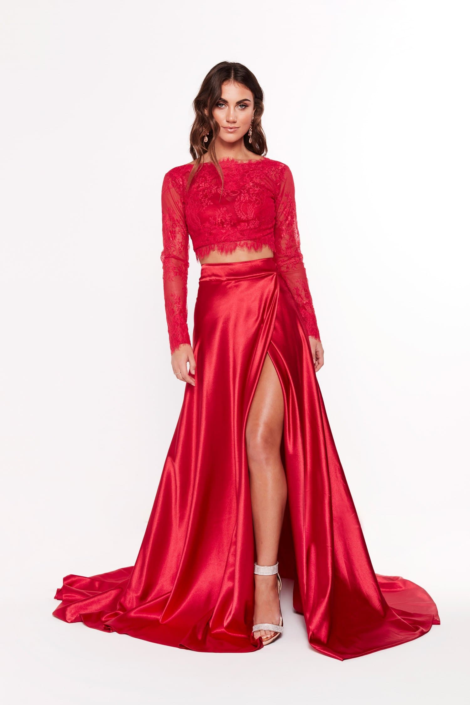 A&N Katerina - Red Lace Satin Two Piece Formal Gown with Side Slit