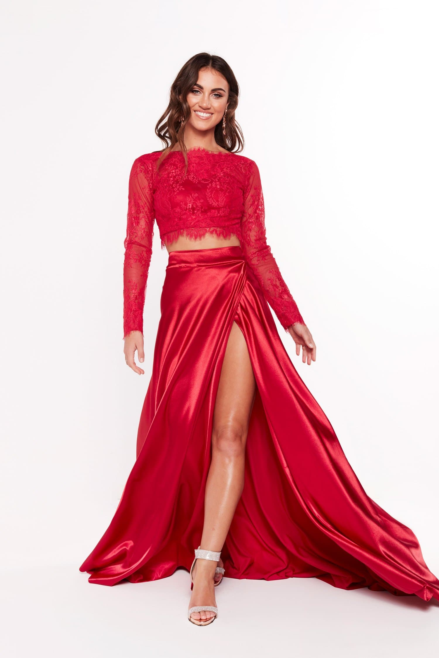 043b433ca247 A&N Katerina - Red Lace Satin Two Piece Formal Gown with Side Slit ...