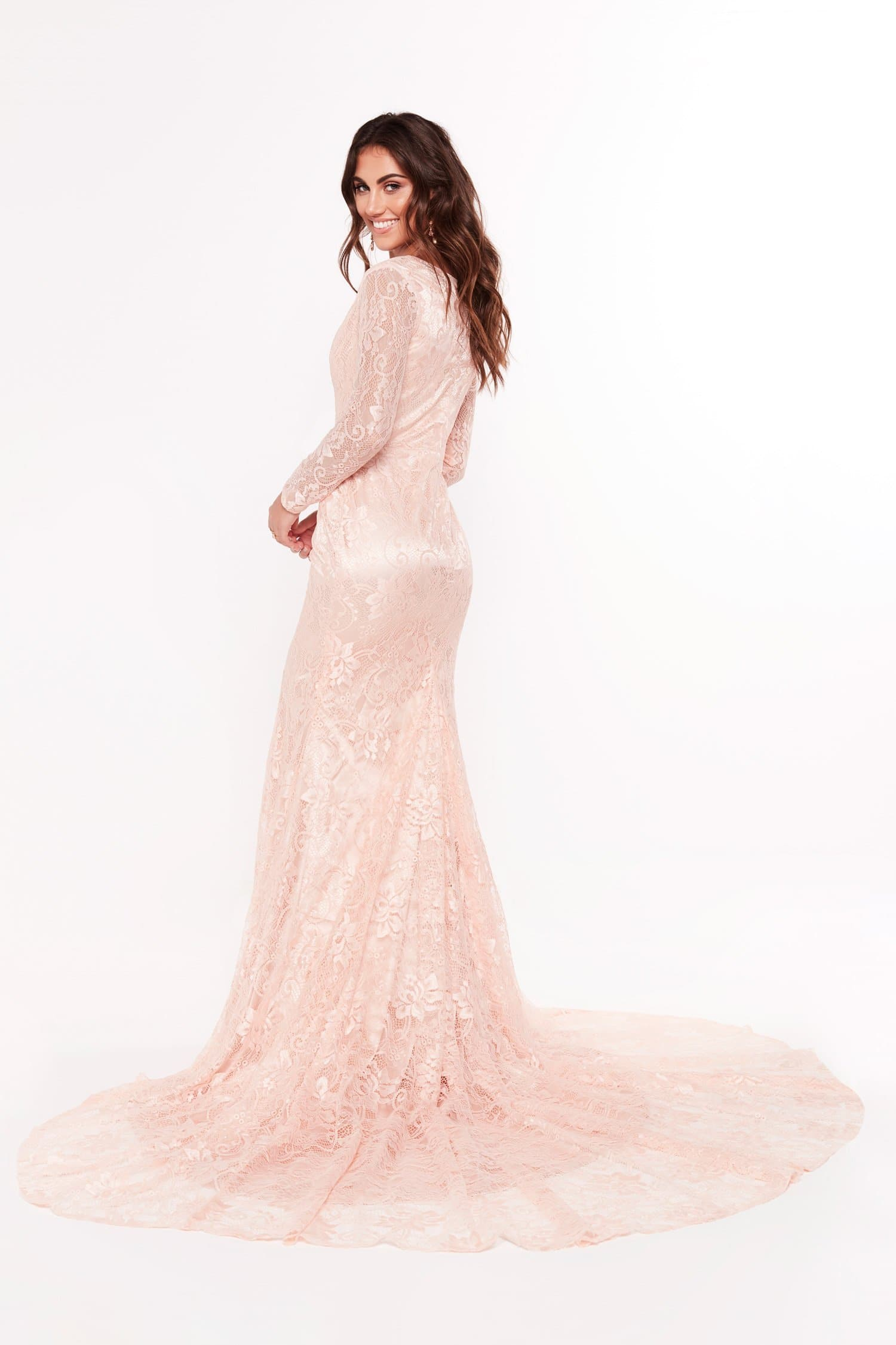 A&N Renee - Peach Lace Gown with Long Sleeves and V Neckline