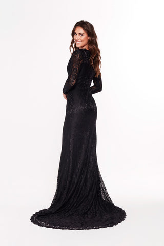 A&N Maggie - Black Lace Long Sleeve Gown with V Neckline