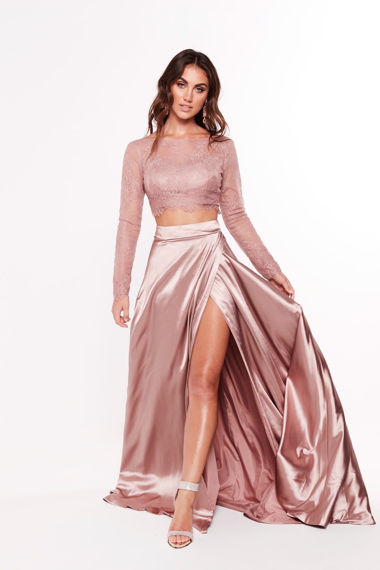 A&N Katerina - Mauve Satin Lace Two Piece With Hidden Slit