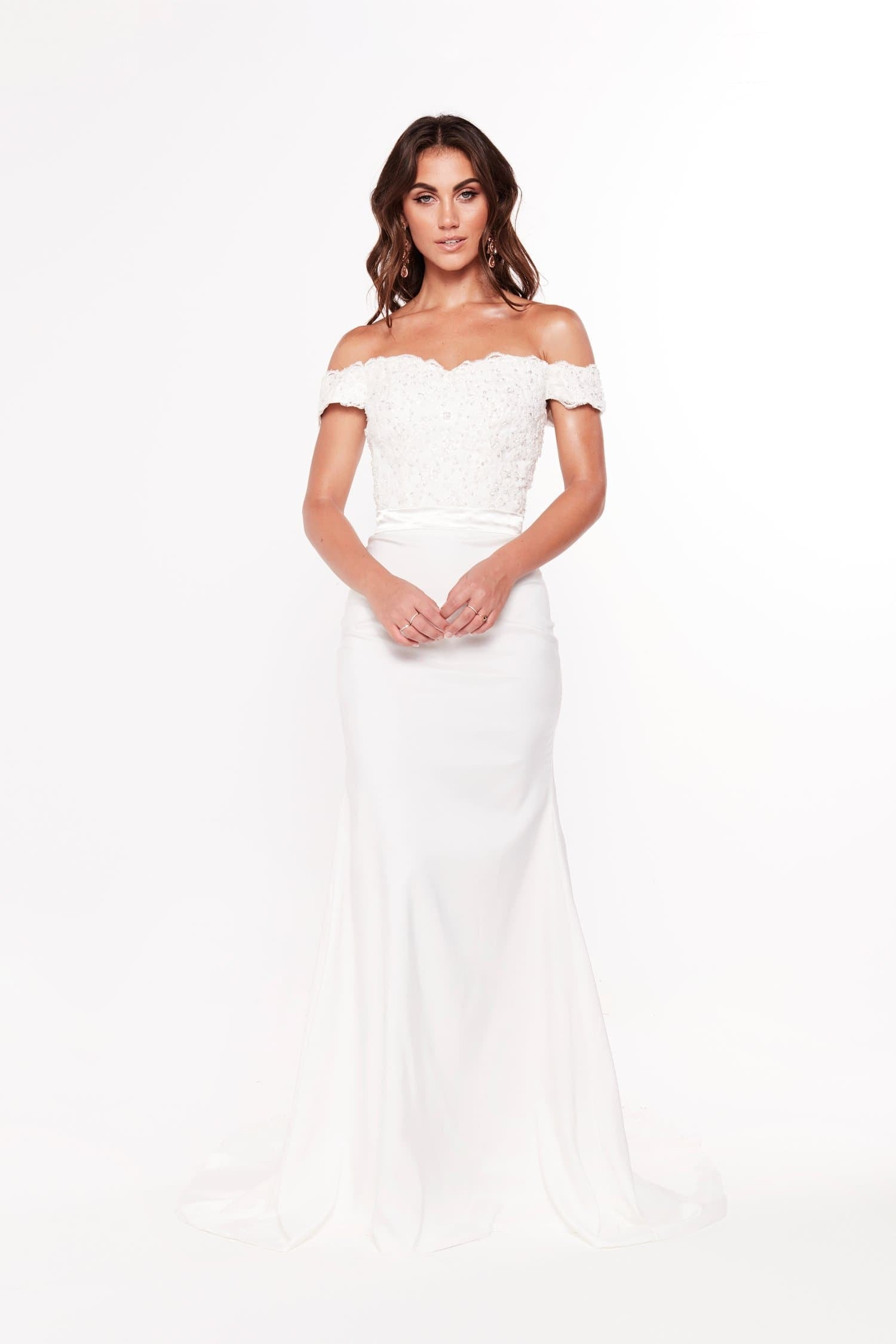 A&N Sandy - White Lace Off-Shoulder Gown with Beaded Bodice