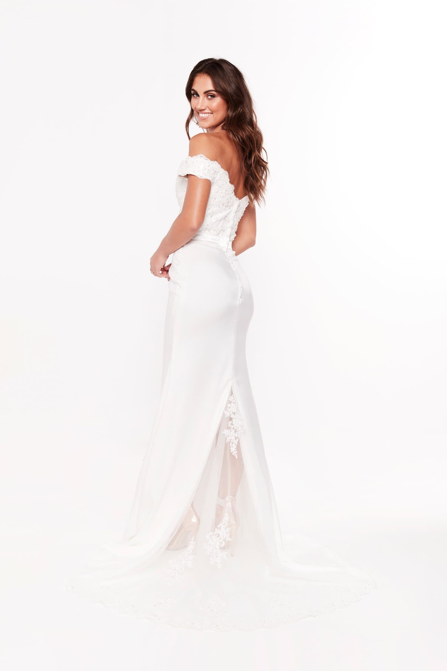 Sandy Offshoulder white beaded gown bridal dress