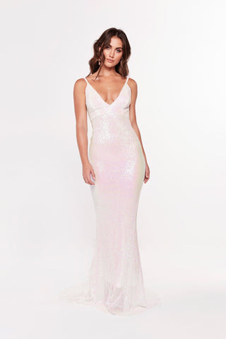 A&N Cynthia Gown - Shimmering Pastel Gown with V-Neck and Low Back