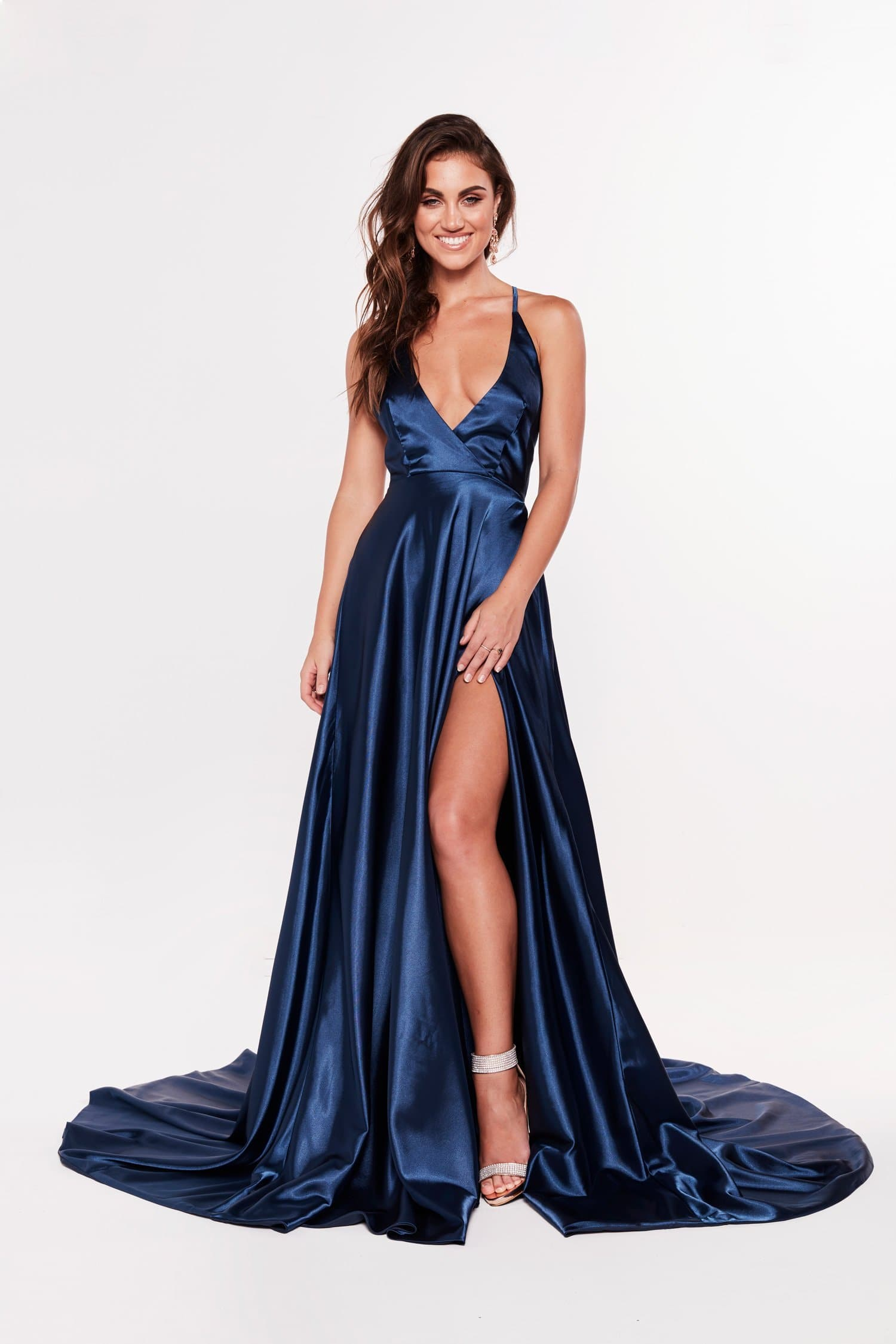 A&N Dimah - Satin Navy Gown With Front Slit and Plunge Neckline