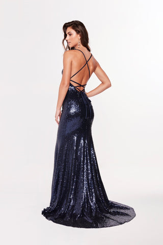A&N Luxe Esmee - Navy Sequin Gown with Square Neck and Lace Up Back