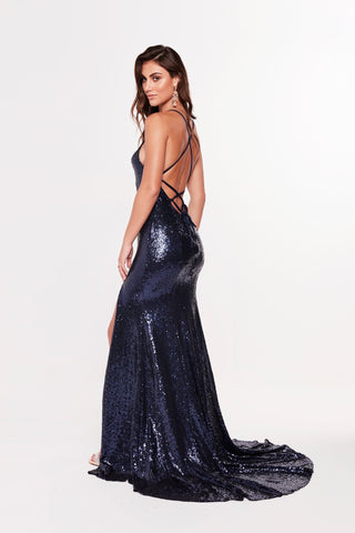 A&N Kara - Navy Sequin Gown with Front Slit and Lace Up Back