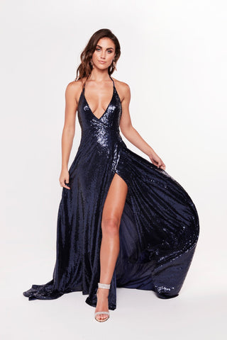 A&N Camilla - Navy Sequin Gown with Plunge Neckline and Front Slit