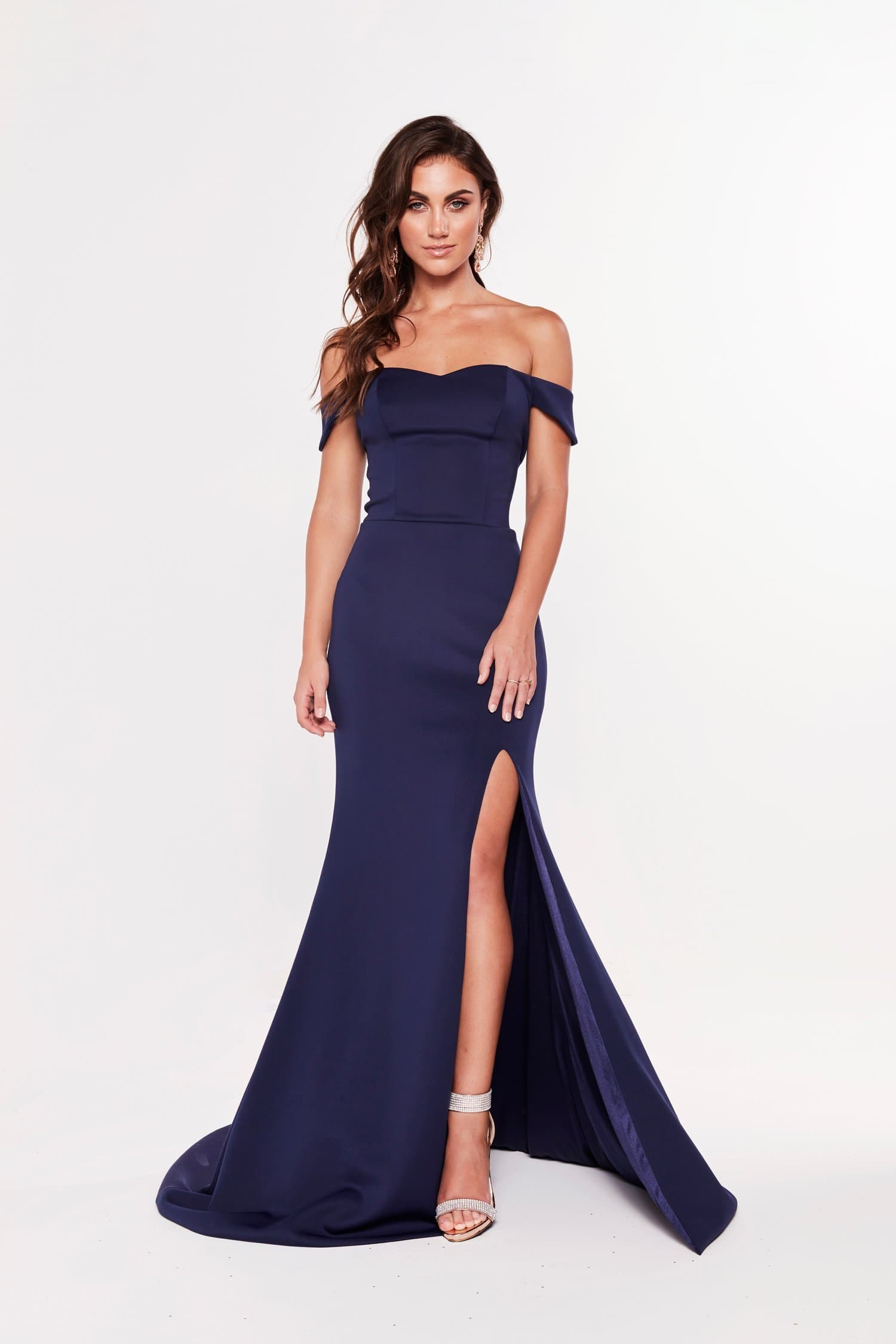 A&N Belle - Navy Off the Shoulder Ponti Gown with Side Slit