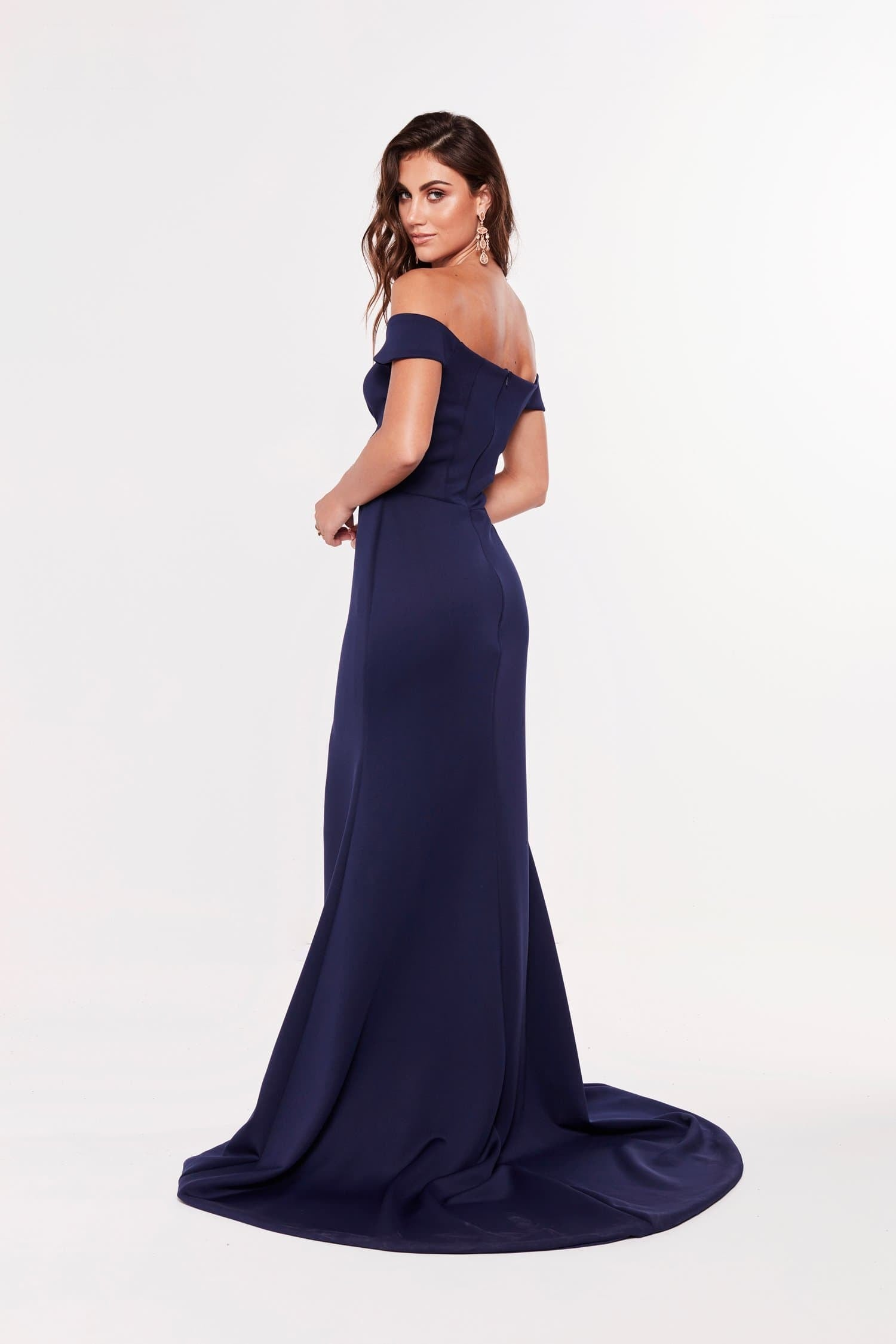 A&N Luxe Belle PontiI Off-Shoulder Gown - Navy