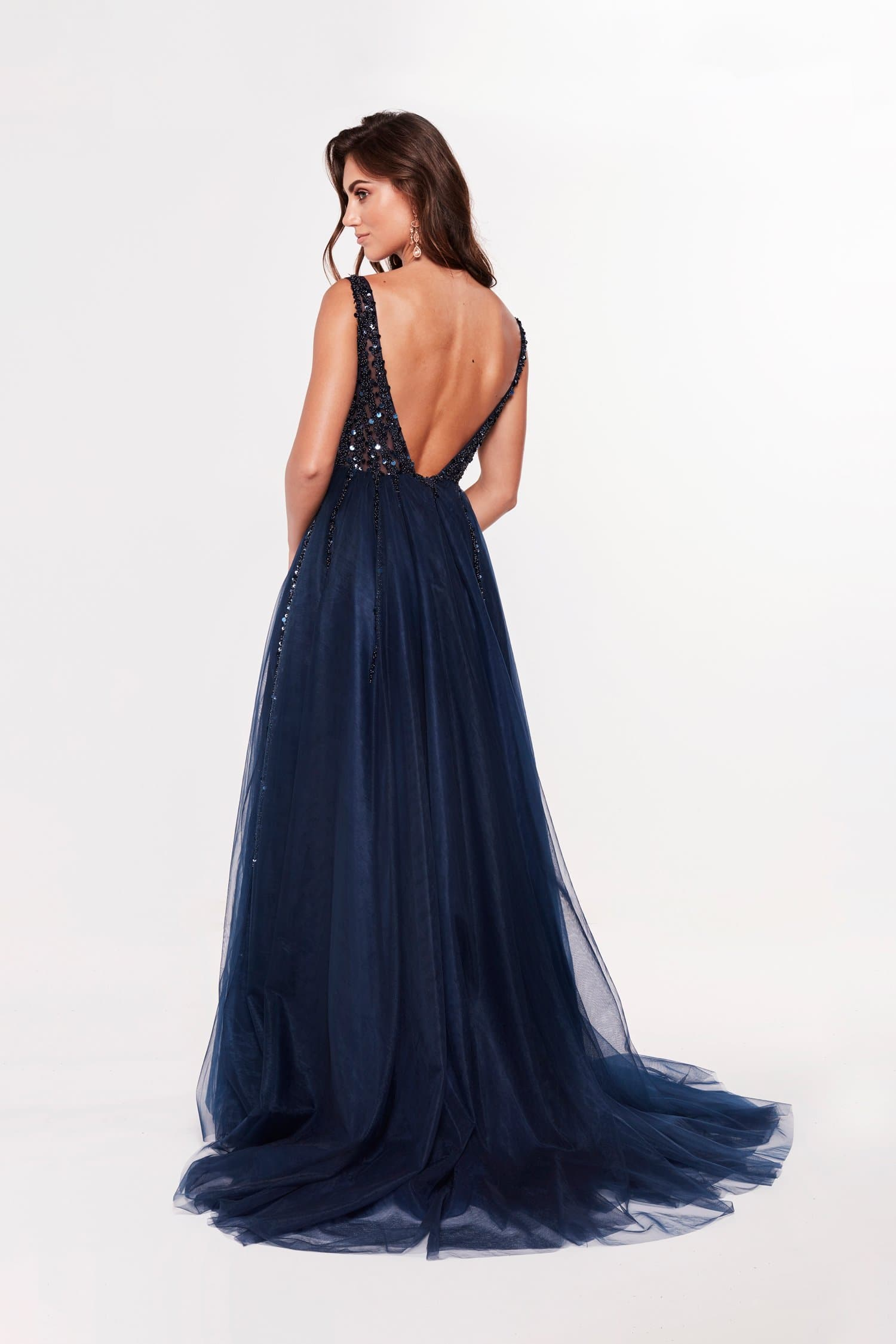 A&N Princessa - Navy Tulle Gown with Beaded Bodice