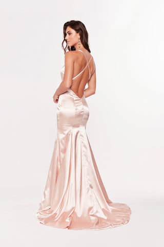 A&N Cadence - Satin Peach Gown with Back Detail and Mermaid Train
