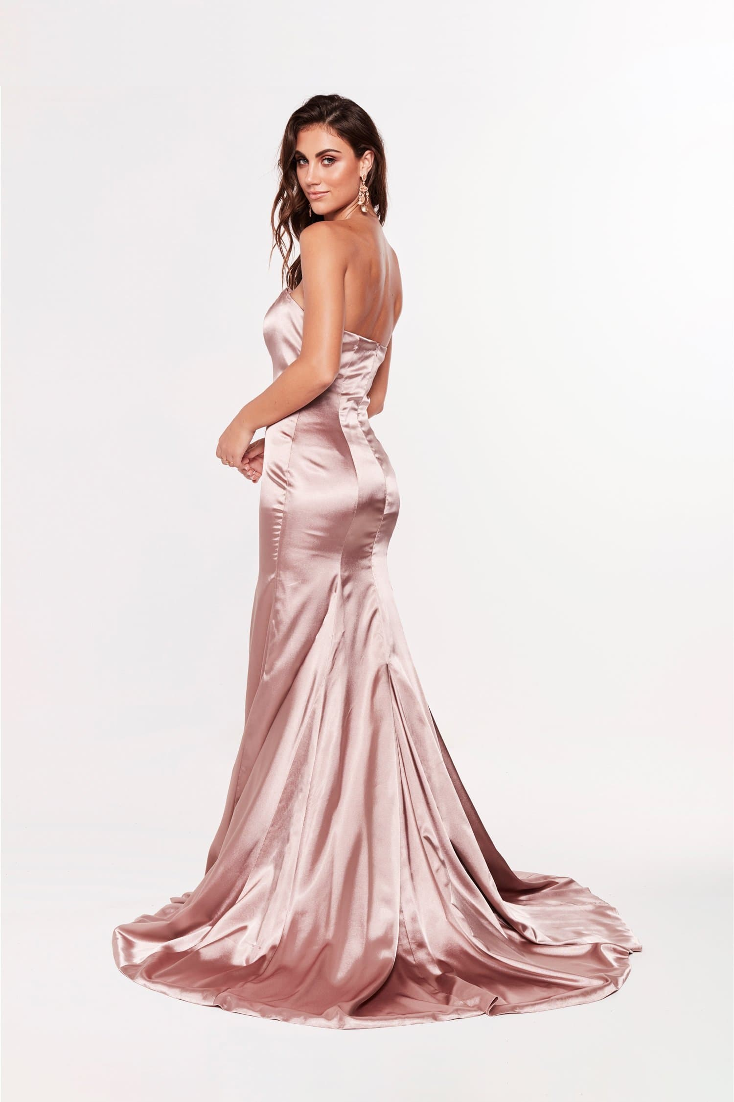 A&N Aino - Strapless Satin Gown with Mermaid Train in Mauve